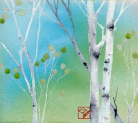 Spring Green original watercolor painting by Jackson Hole Wyoming artist Kay Stratman
