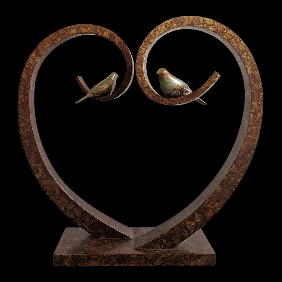 Sweet Hearts bronze sculpture by Santa Fe New Mexico artist Gilberto Romero