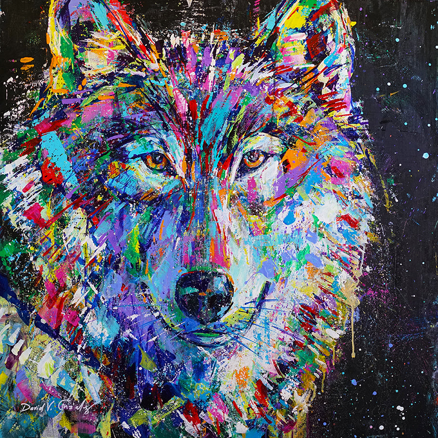 Te Amo Wolf Painting by artist David V. Gonzales
