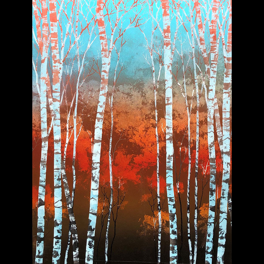 Temper original carved acrylic and paint aspen landscape by colorado artist Christopher Owen Nelson