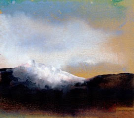 Twilight Falls original watercolor landscape painting by Jackson Hole Wyoming artist Kay Stratman