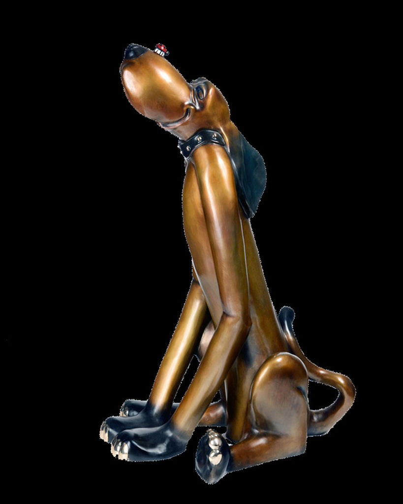 Waldo Harvey dog bronze sculpture by artist Marty Goldtsein