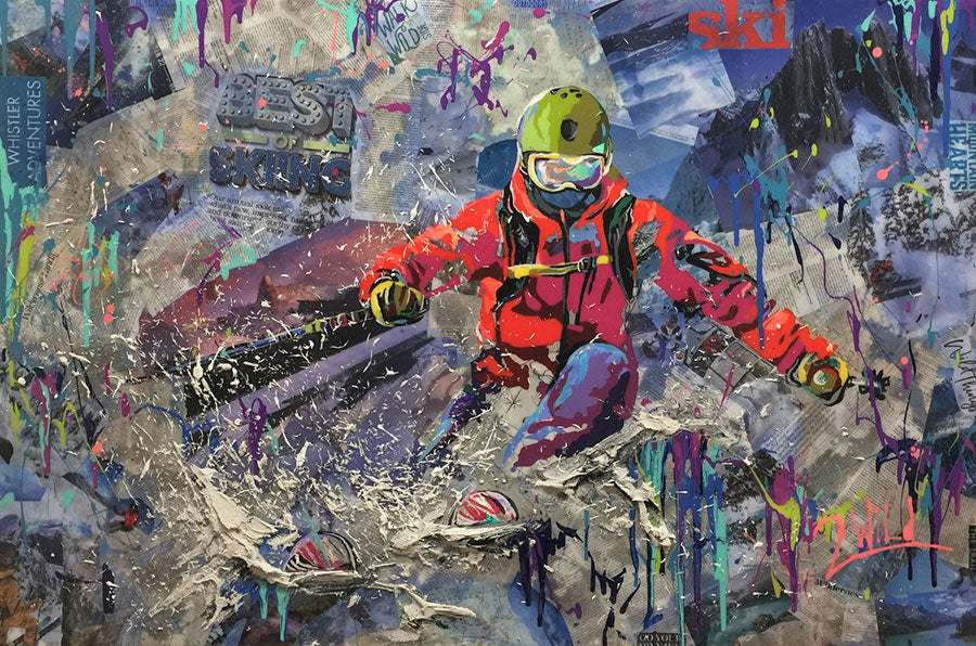 Wild Skiing mixed media pop art ski painting by artist 2Wild