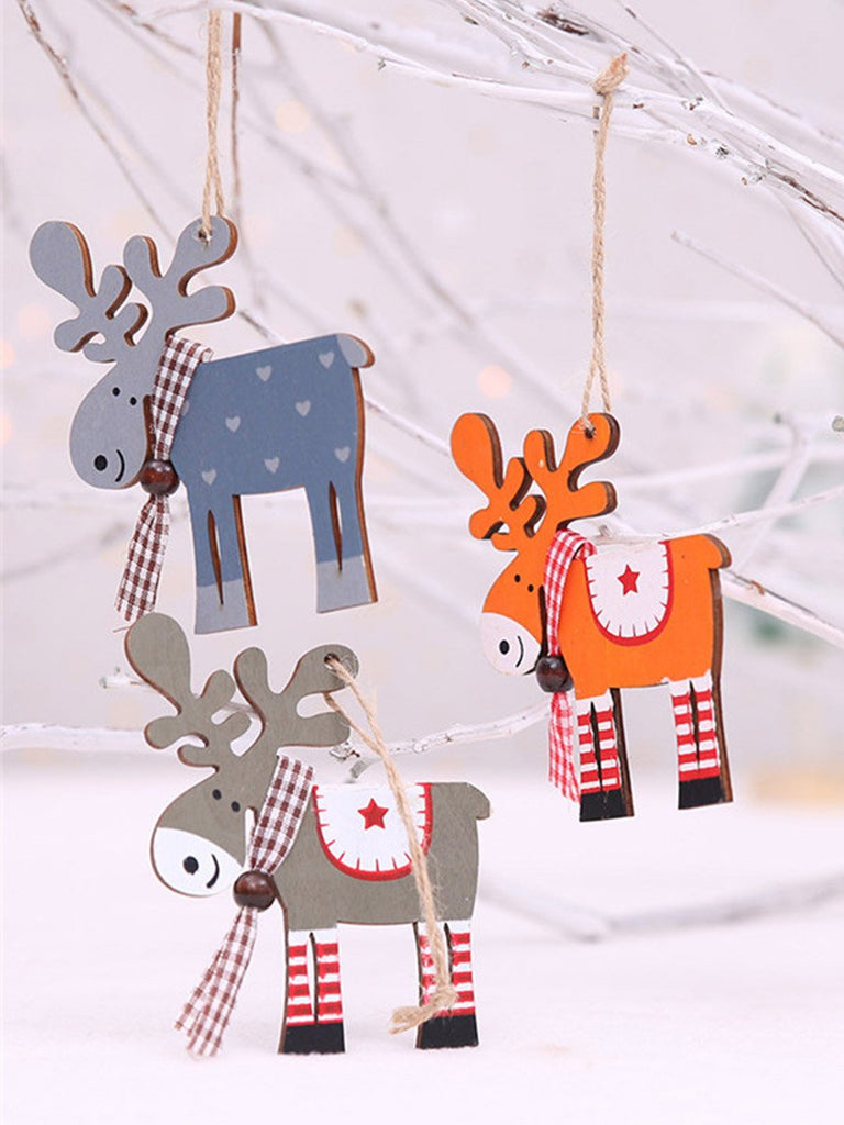 Christmas Ornaments Wood Painted Elk Pendant Christmas Tree Decor
