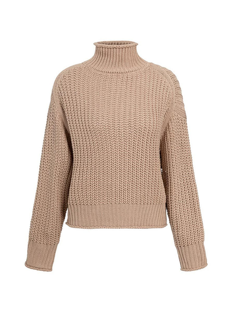 Turtleneck Sweater Fashion Long Sleeve Loose Knitted Pullover