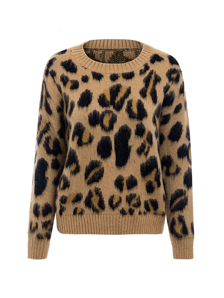 Ladies Knitwear Sexy Long Sleeve Leopard Knitted Pullover