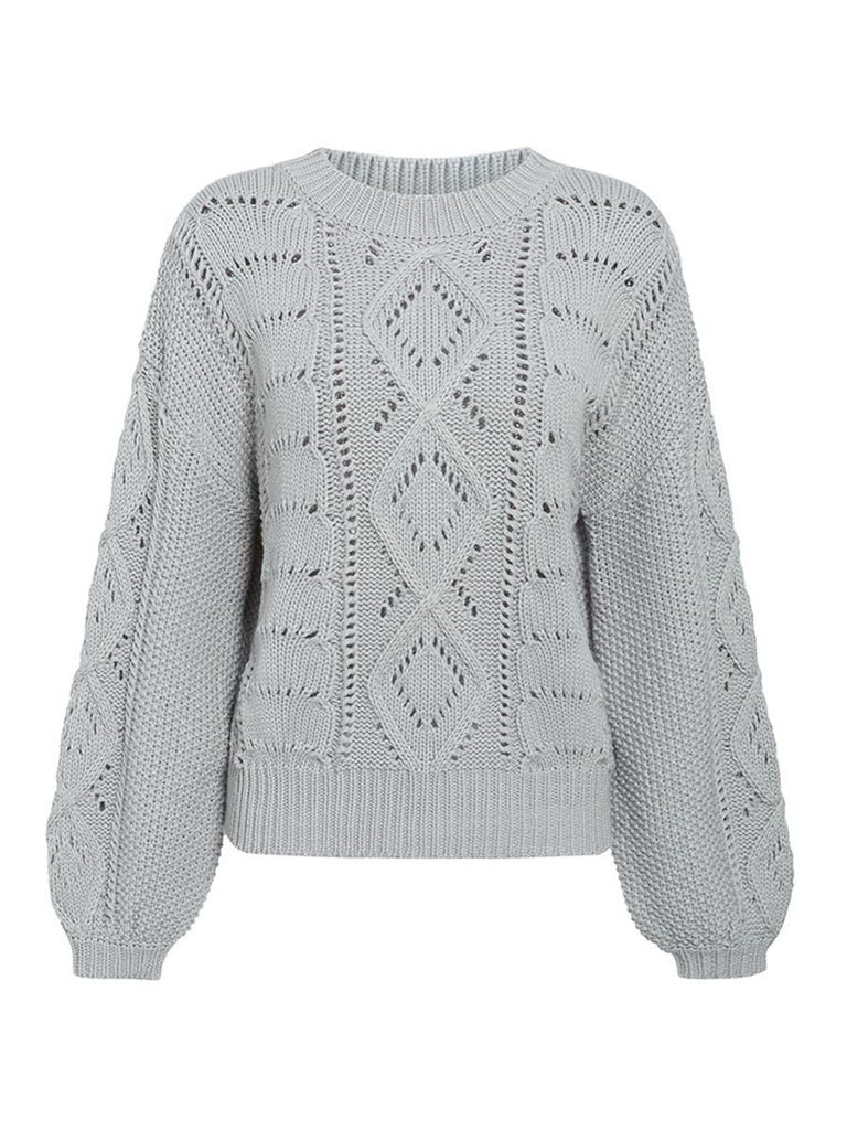 Ladies Jumper O-neck Lantern Sleeve Hollow Out Knitted Pullover