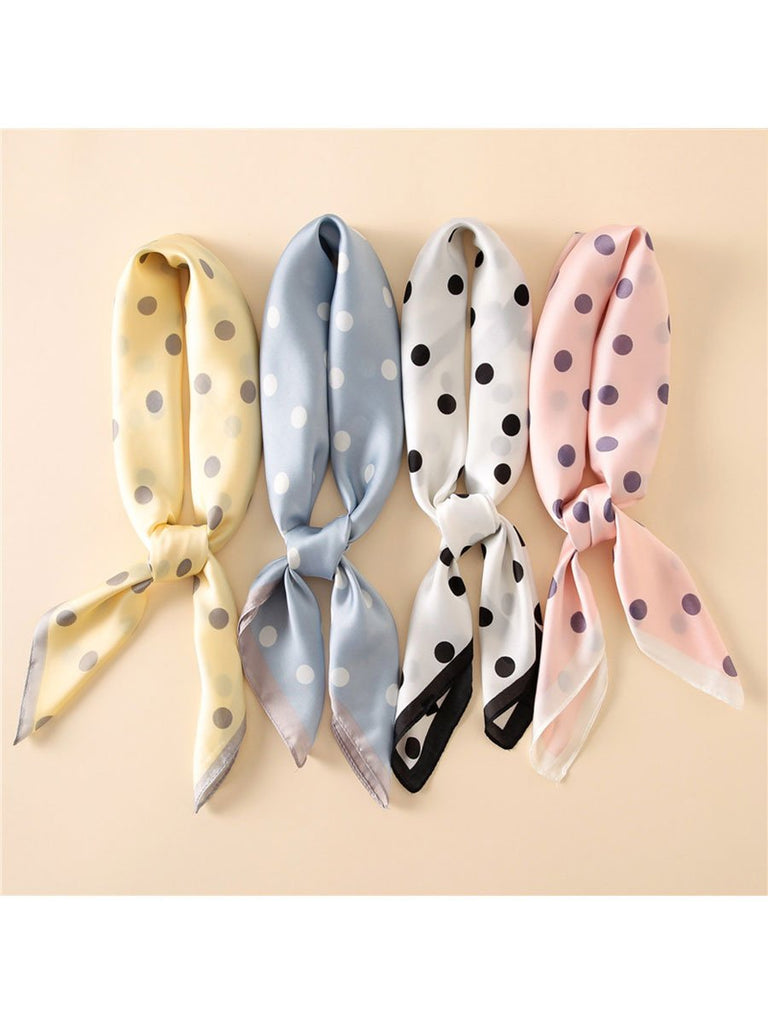 Fashion Accessories Striped Dots Print Silk Square Scarf