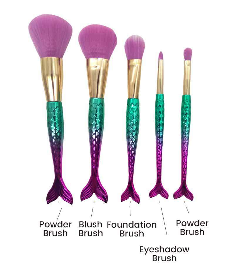 Beauty Tools 5 Pcs Mermaid Makeup Brush Set
