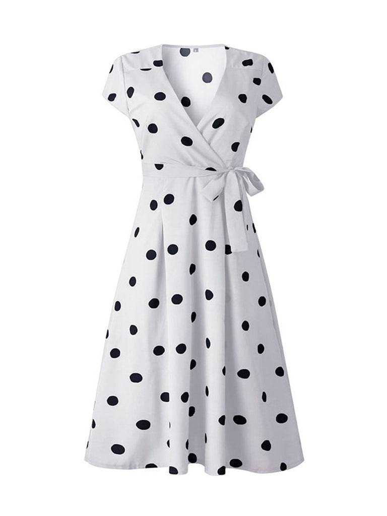 Retro Polka Dot Dress V Neck Short Sleeve Midi Dress