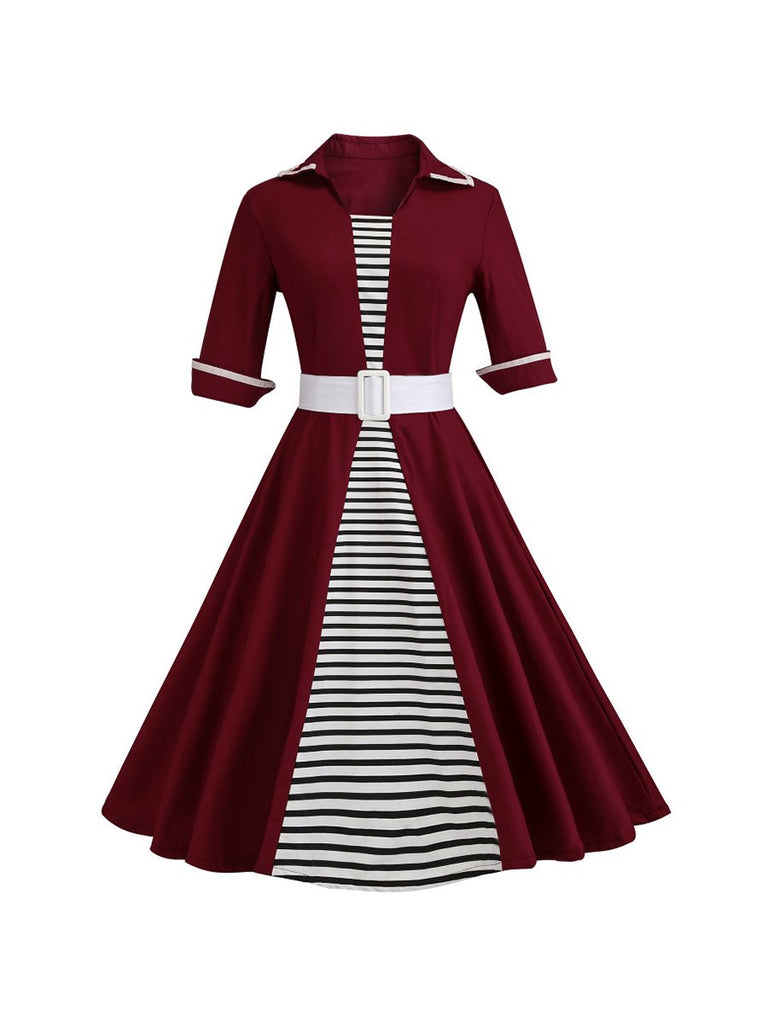 50's Audrey Retro Dress Stripe Print Half Sleeves Lapel Dress