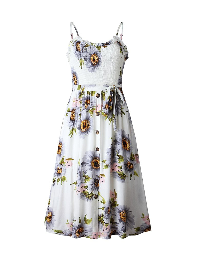 Floral Dress Backless Spaghetti Strap Pleated Dress