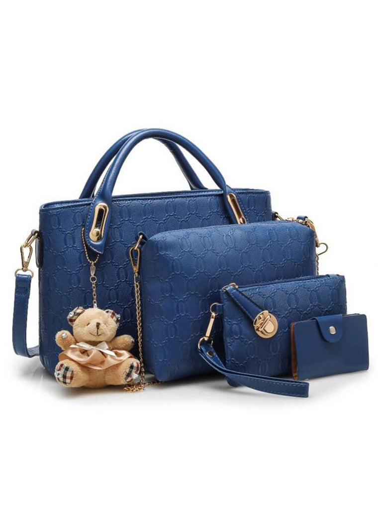 Women 4 Set Handbags PU Leather Shoulder Bag