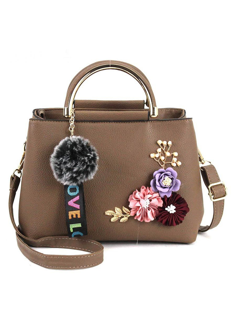 Women Bag Flowers Decoration Leather Handbag