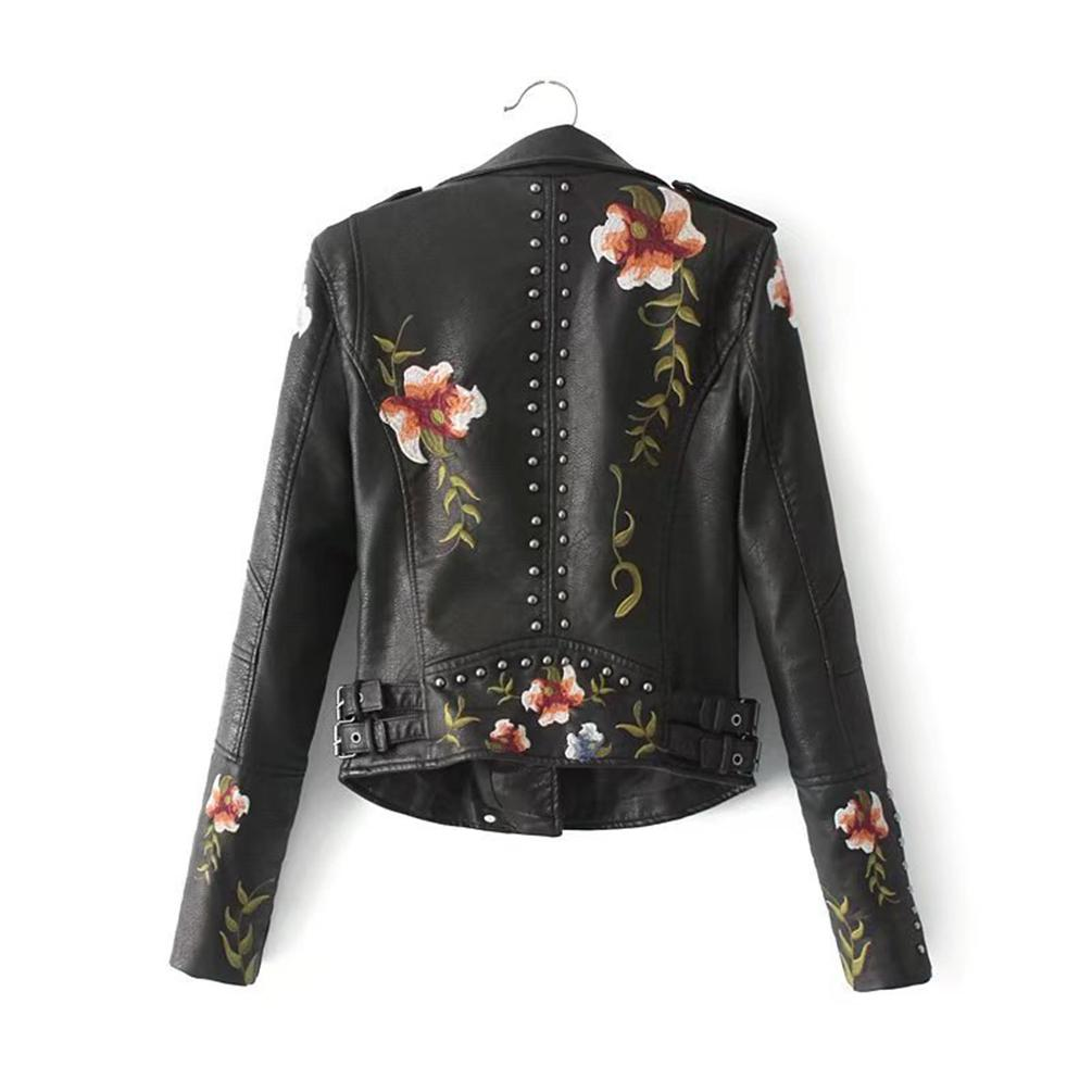 Womens Floral Embroidered Faux Leather Coat Slim Fitted Zip Up Biker Short Outwear