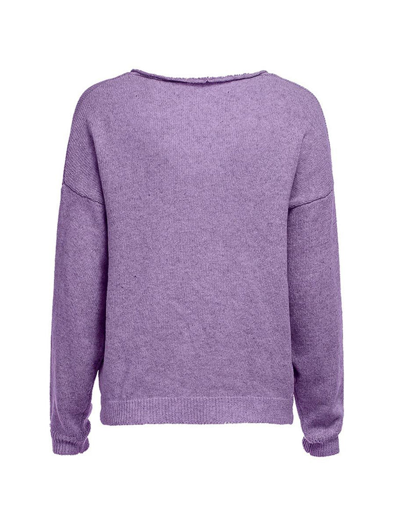 Casual Knitted Sweater V Neck Long Sleeve Loose Solid Pullover