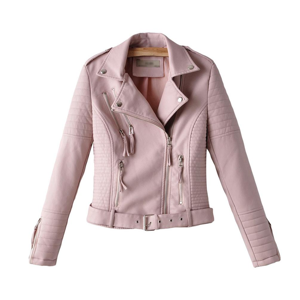 Women'S Pu Leather Cross-Zip Multi-Zip Biker Jacket Slim Fitted Short Outwear