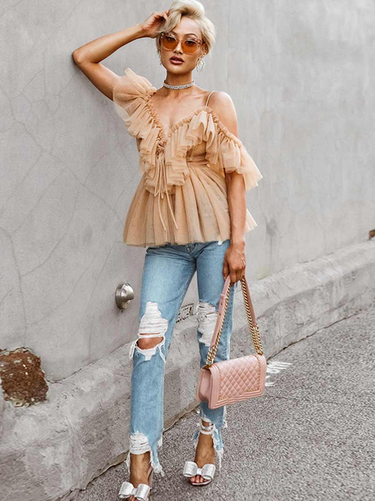Off-shoulder Ruffle Mesh Top Sexy Backless Blouse