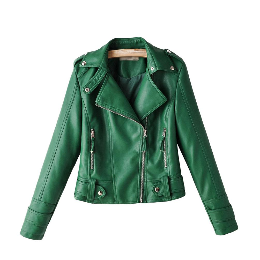 Women Pu Leather Jackets Slim Fitted Zip Up Bomber Jacket Moto Biker Short Jacket Coats