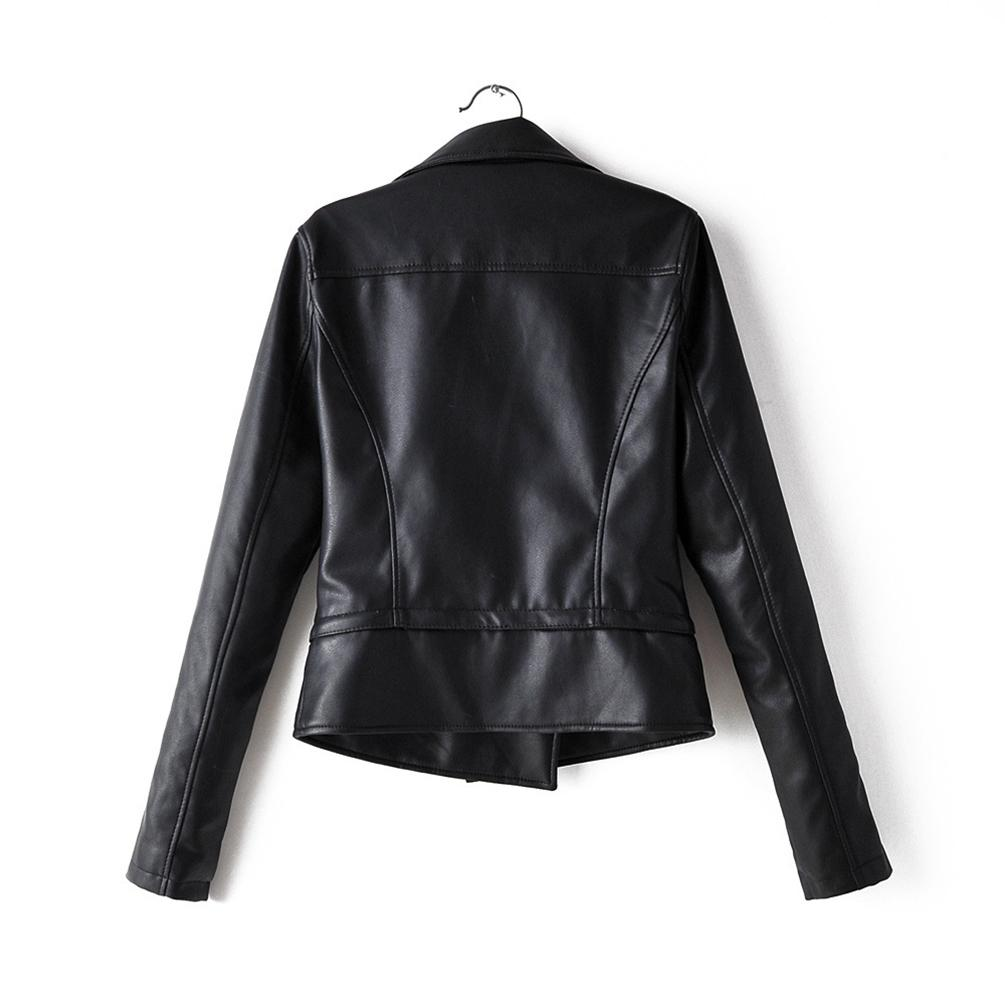 Womens Pu Leather Short Biker Jacket With Zip Pockets Vintage Short Jack For Autumn Spring