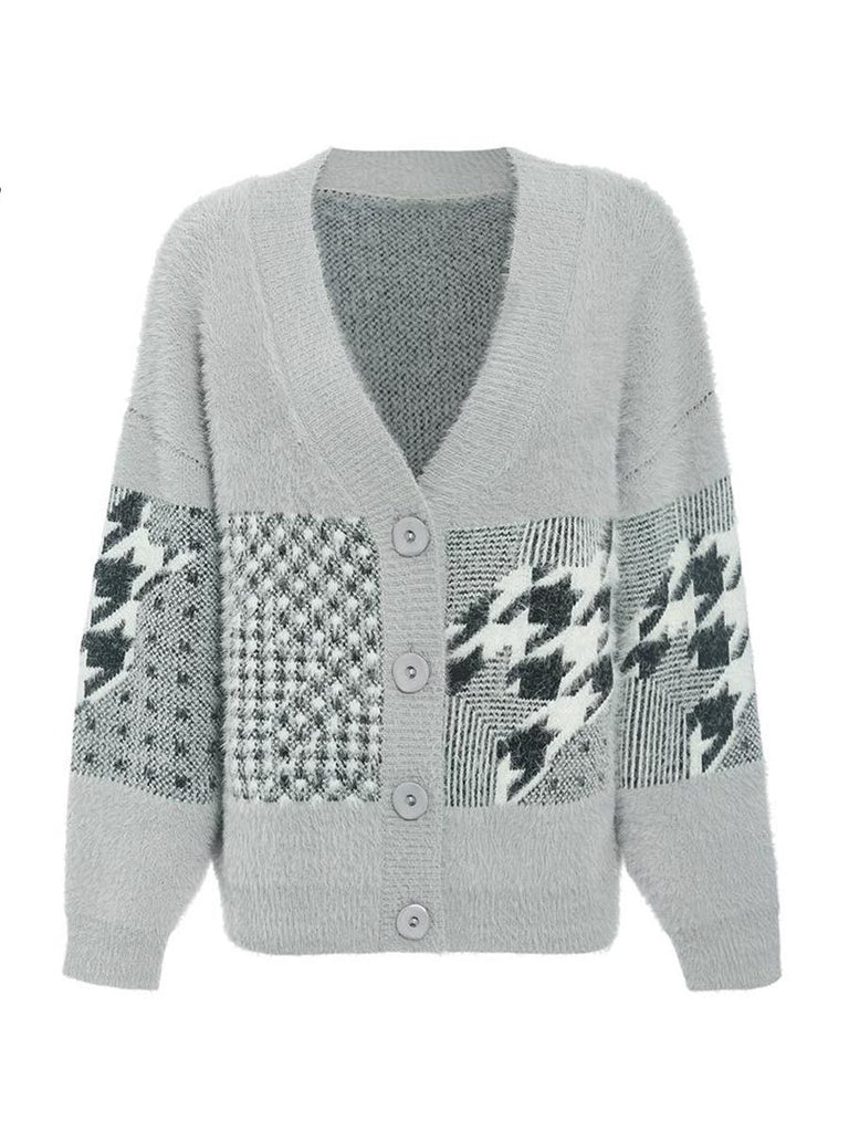Casual Outwear Vintage V Neck Breasted Geometric Stitching Cardigan Sweater