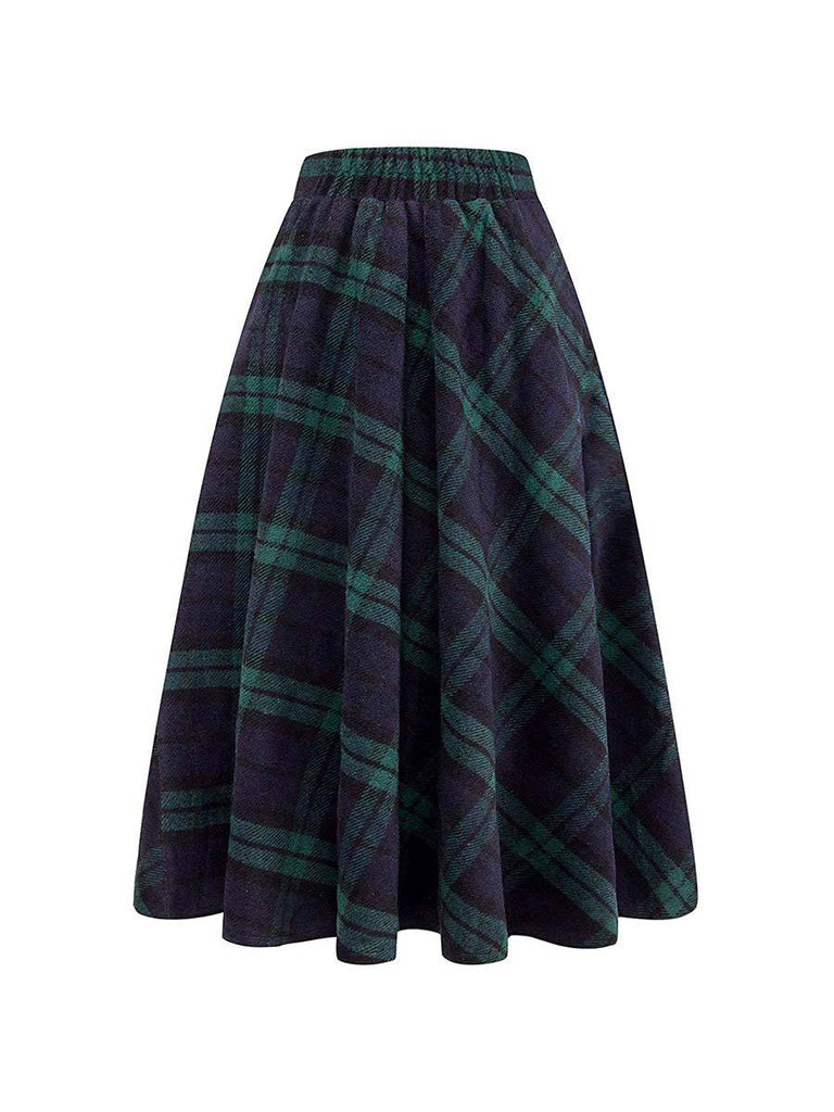 Womens Skirt High Elastic Plaid A-line Ankle-Length Skirt