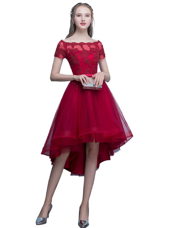 Womens Prom Dress Slash Neck Elegant Evening Dress