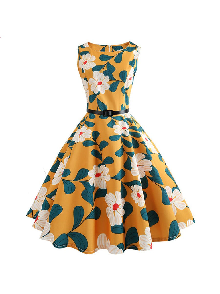 50s Retro Floral Swing Dress Sleeveless Print Vintage Dress With Belt