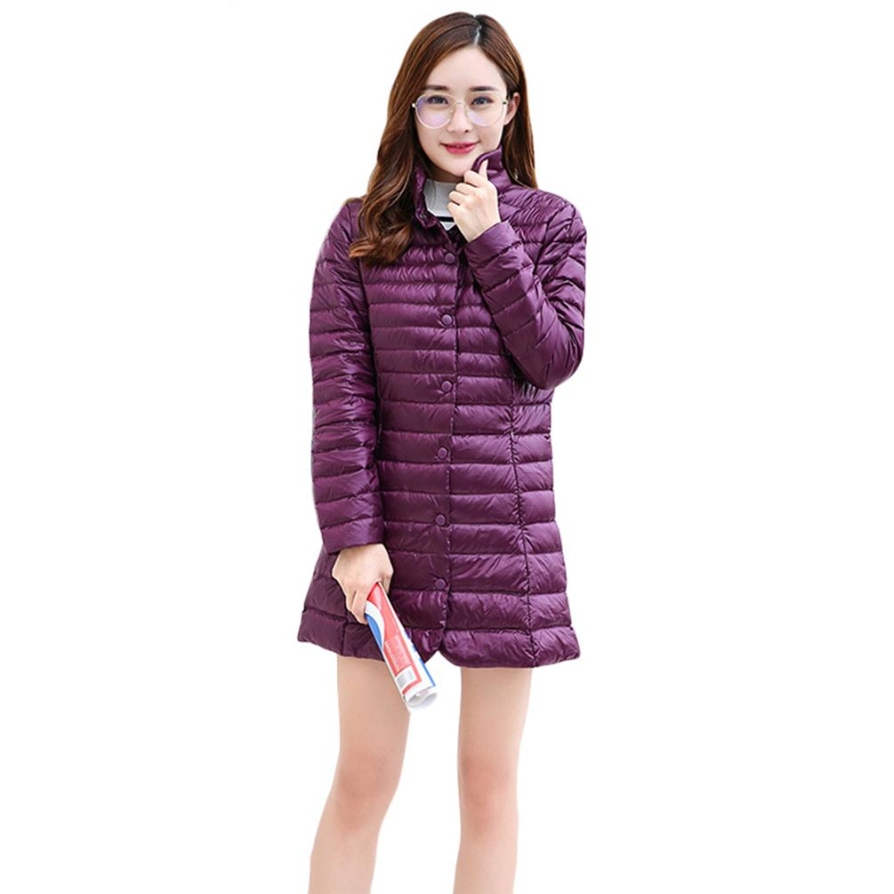 Woman Lightweight Down Coat Hooded Warm Long Outwear