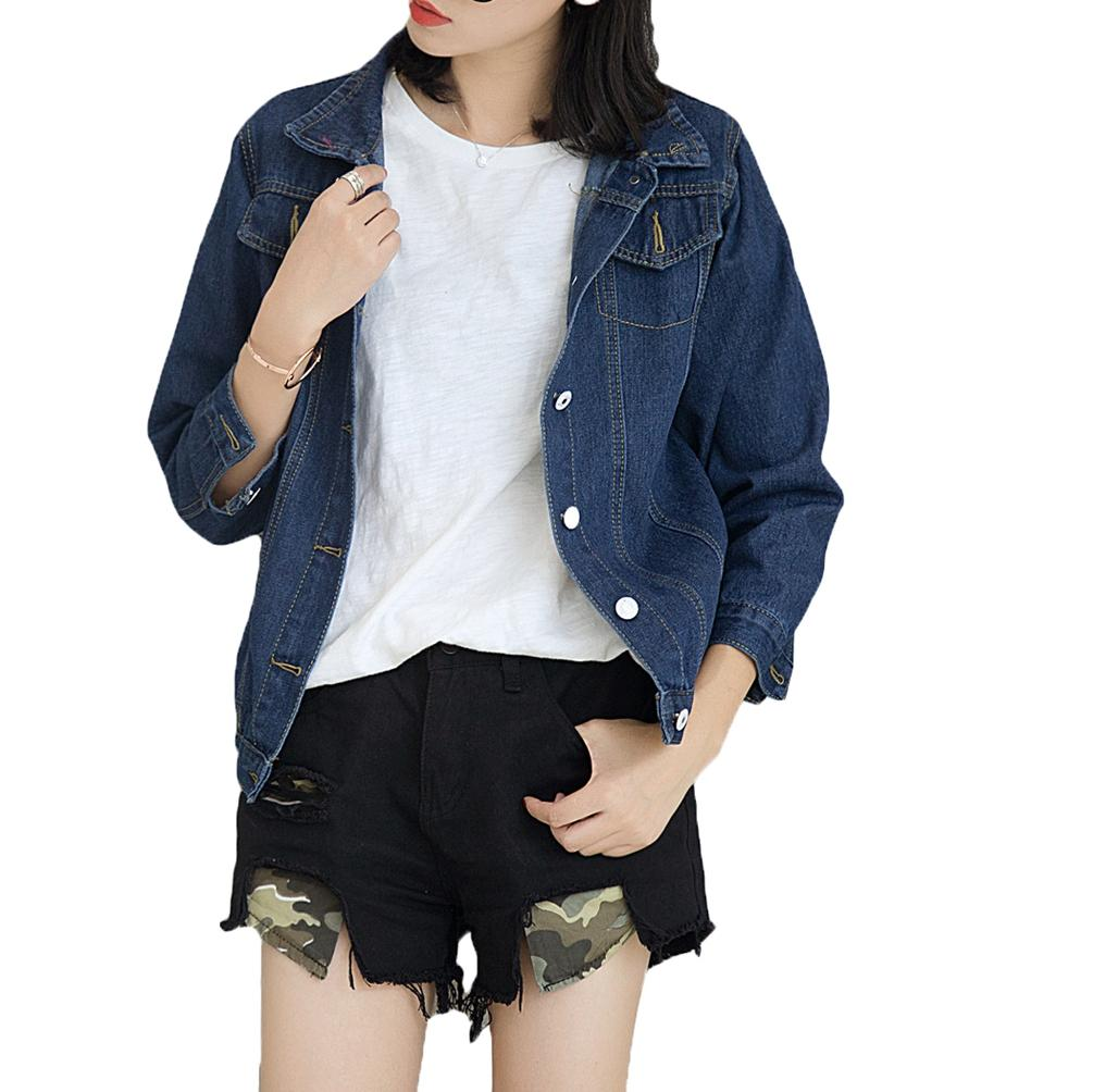 Womens Denim Jackets Casual Jean Jackets Turn Down Collar Basic Chest Pockets Single Breasted Trucker Jacket