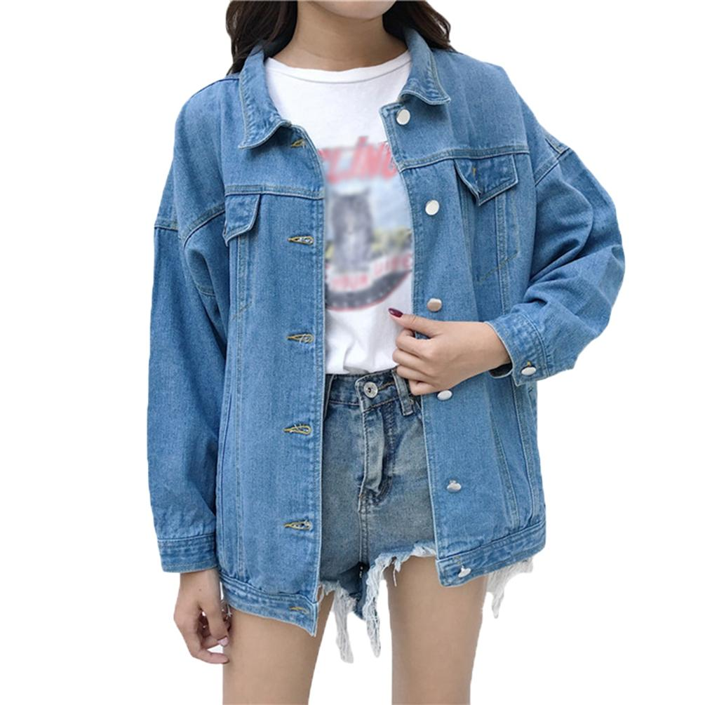 Women Girls Loose Long Sleeve Vintage Denim Jacket Casual Trucker Jacket Jean Jackets