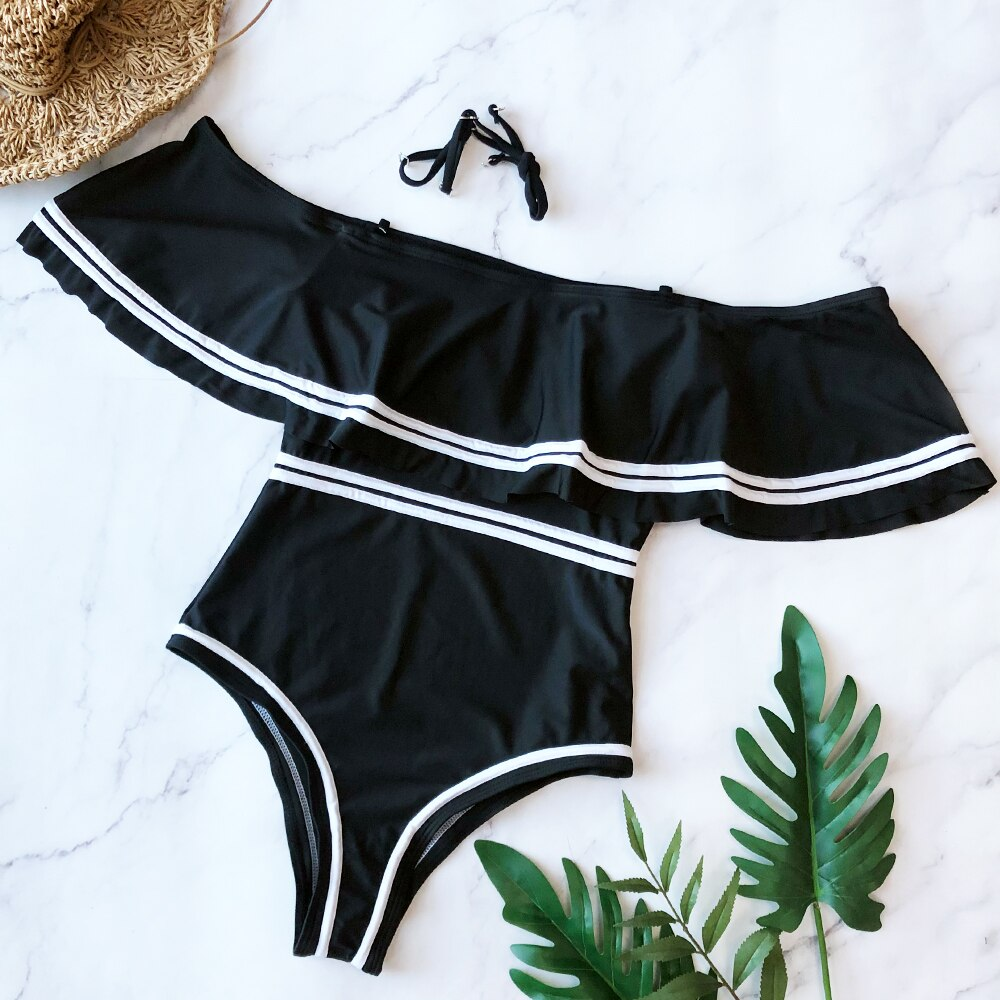 One Piece Swimsuit Flounce Off Shoulder Sexy Swimsuit