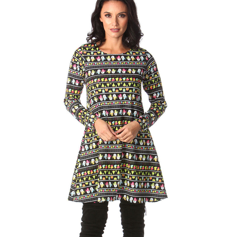 Elegant Christmas Print Dress 2020 Plus Size Women Mini Autumn Vestidos Casual Loose A Line Vintage Short Party Dresses Femme