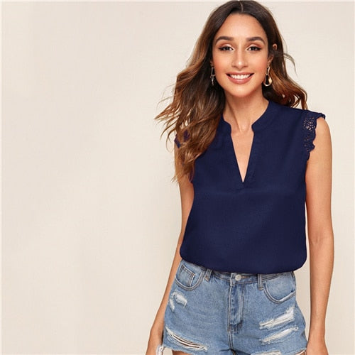V-Button Closure Lace Trim Shell Top