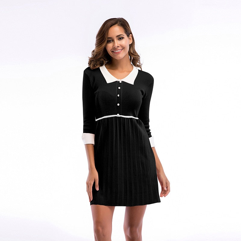 Peter Pan Collar Knitted Dress Pleated Mini Buttons Dress