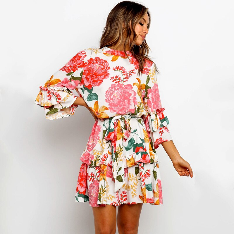 Peony Print Floral Dress Loose Cascading Ruffles Elegant Party Mini A Line Dresses Flare Sleeve Casual Waist Lace up Vestidos