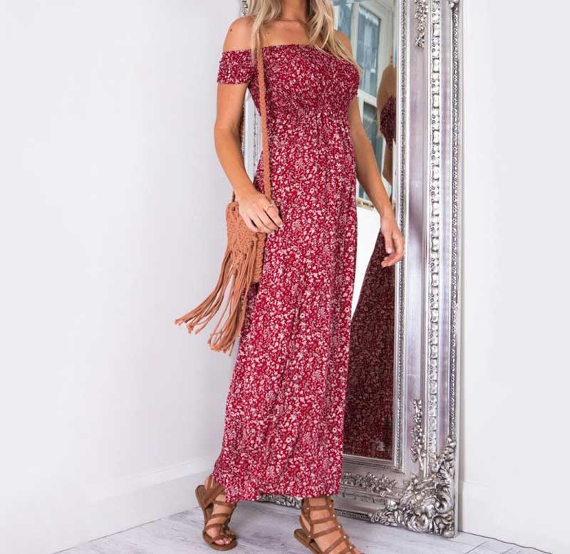 Floral Printed Boho Dress Ladies Strapless Long Maxi Dress