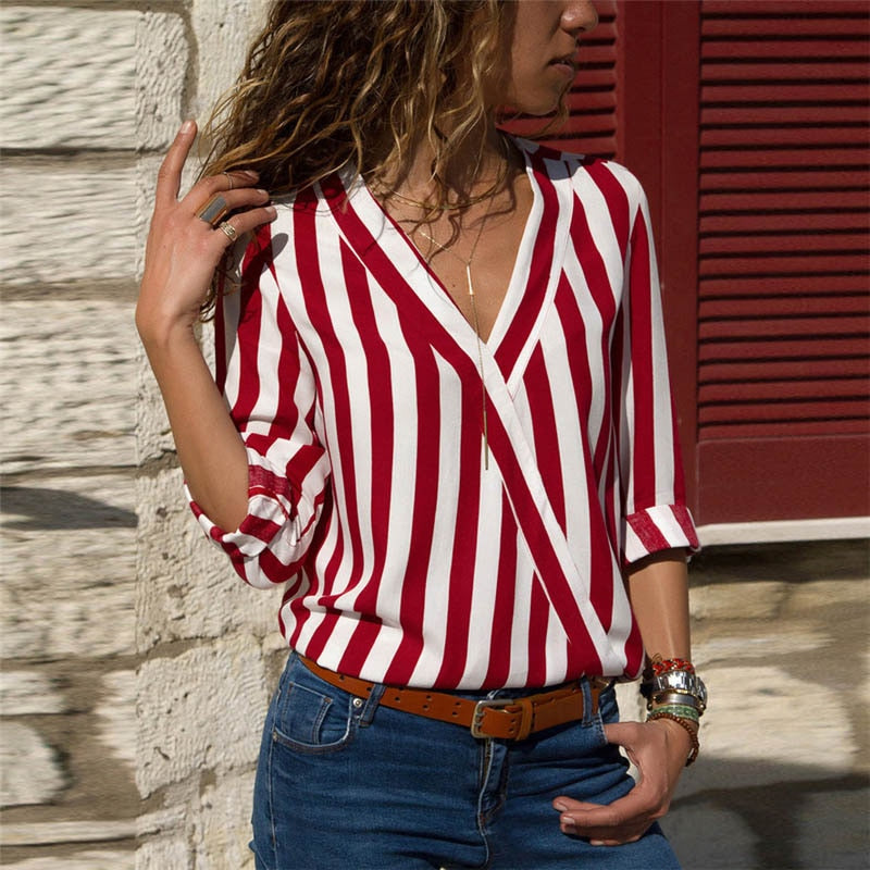 Striped Women Blouse Shirt V-Neck Long Sleeve Casual Blouse