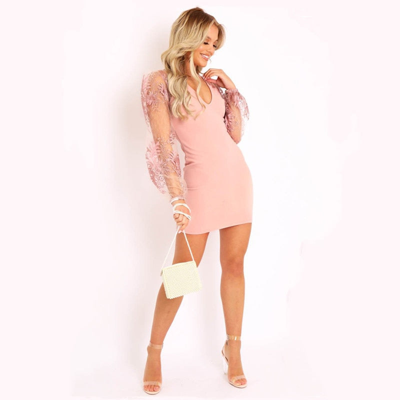Elegant Vintage Lace Long Sleeve Dress Low Cut Embroidery Sweet Backless Dresses Woman V Neck Mini See Thought Vestidos Femme
