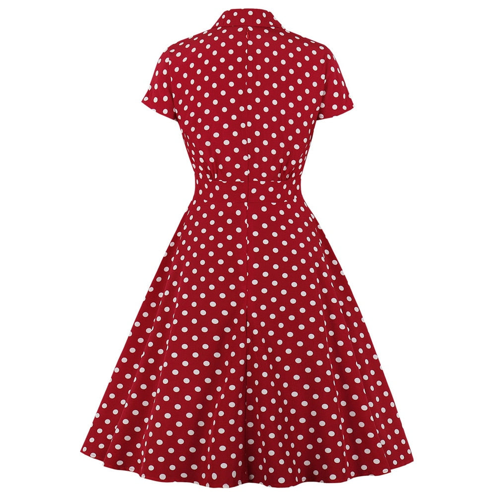 Wipalo Sexy V-Neck Vintage Women Dress New Fashion Polka Dot Pinup Swing Short Sleeve Evening Party Rockabilly Retro Dress