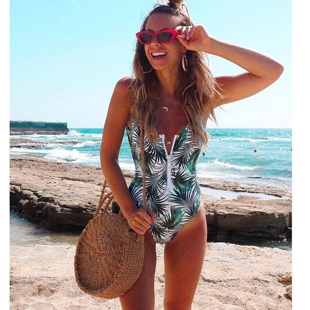 Backless Striped One Piece Swimwear