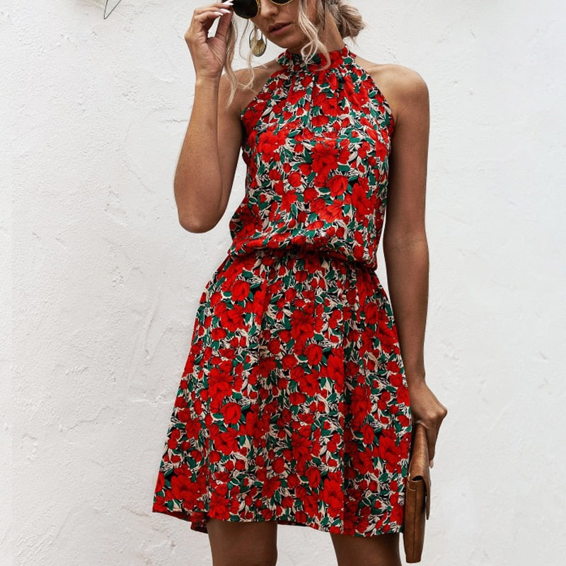 Sexy Halter Lace-Up Floral Print Mini Dress