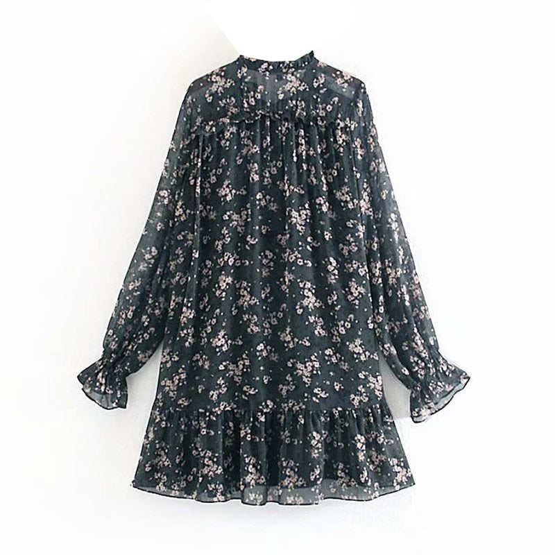 Women Ruffle Bow Tie Mini Floral Print Dress Vintage Long Sleeve Vestido Casual Loose Pleated Ladies Dress Ruffles Party Dresses
