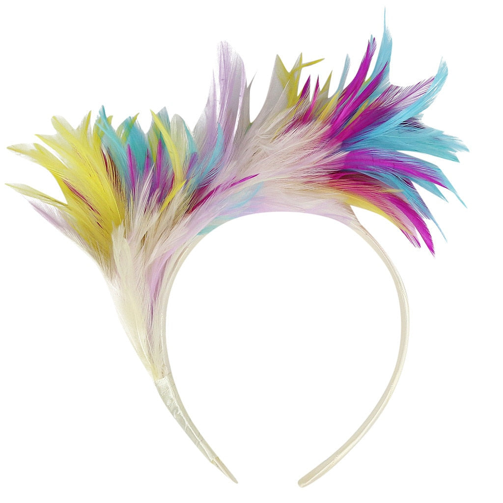 Women Hair Accessories Colorful Feather Carnival Headband