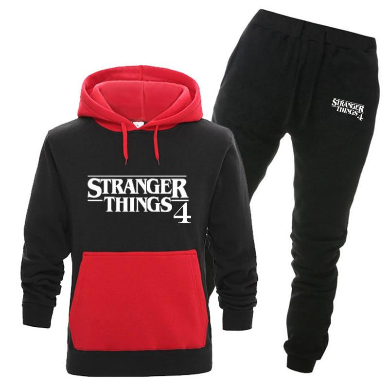Stranger Things 4 Hoodies Tracksuit Suit Men/Women Sweatshirts+Sweatpants Fashion Hip Hop Harajuku Hooded Fleece Hoodie