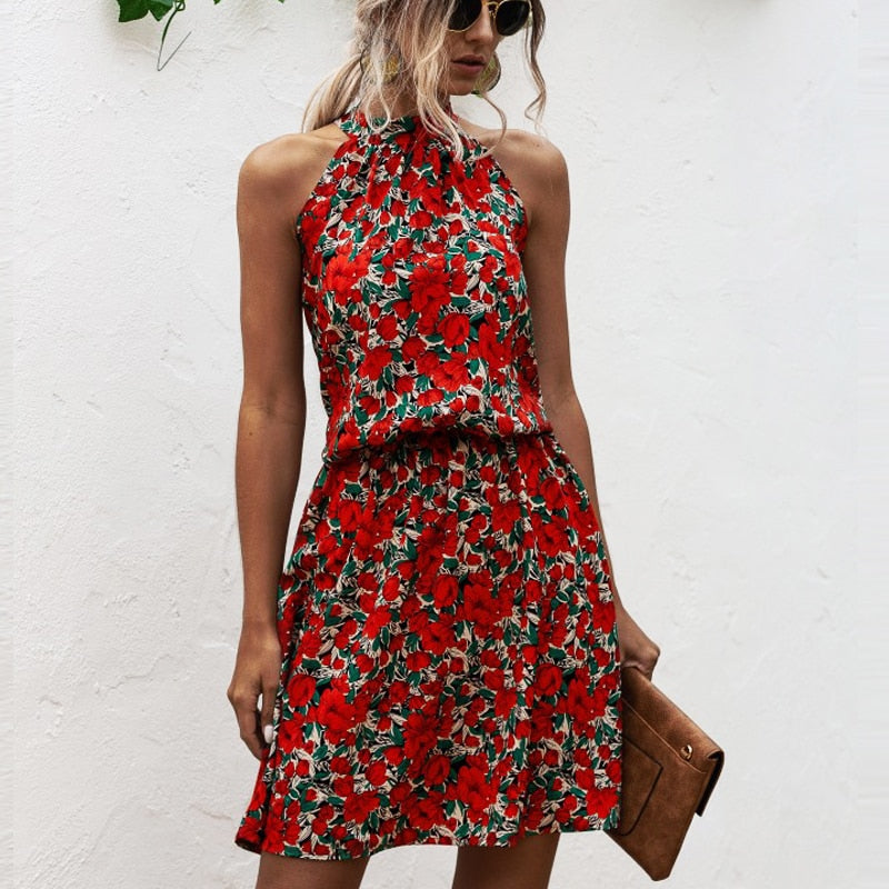 Summer Sexy Halter Lace Up Floral Print mini Dress  2020 vintage short sleeveless dress beach Casual party Dress for Women