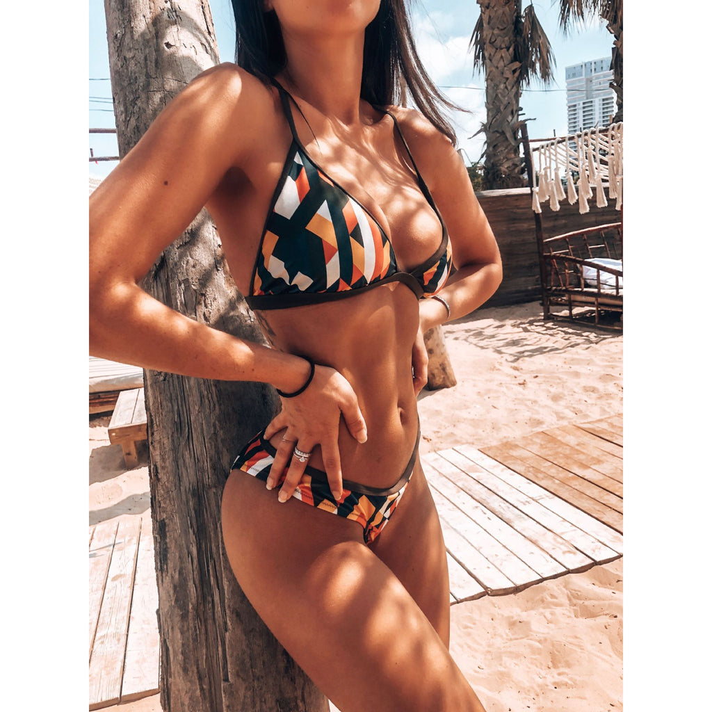 2020 Sexy Brazilian Bikini Swimwear Women Halter Push Up Bikini Set Swimsuit Female Floral Print Bandage Biquini Bathing Suit