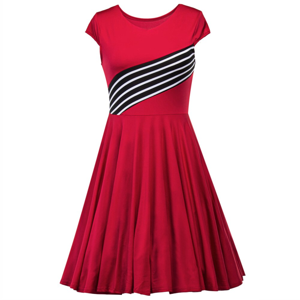 Vintage Round Neck Pin Up Stripe Stitching Swing Dress