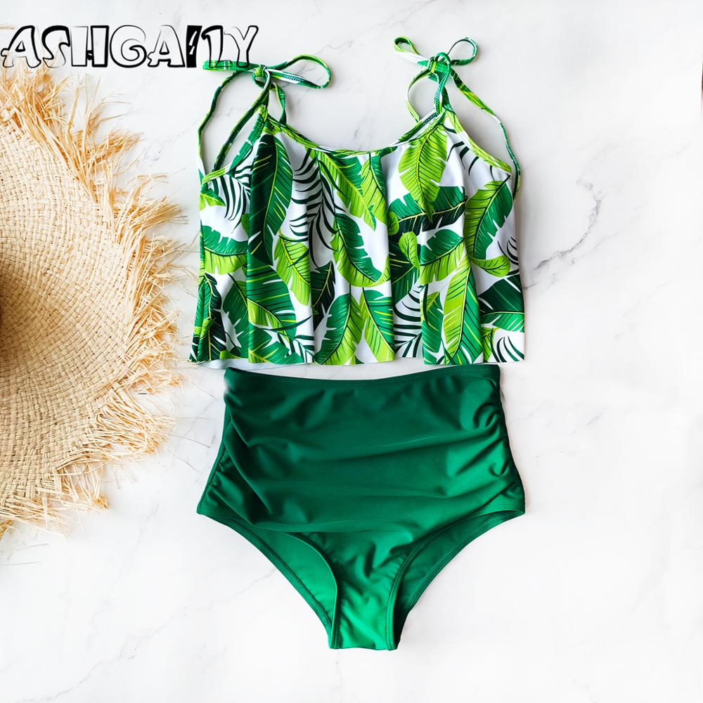2020 Push Up Tankini Set Swimsuit Women Swimwear Plus Two Piece Suits Print Bathing Suit Beach Wear Swim Maillot De Bain Female