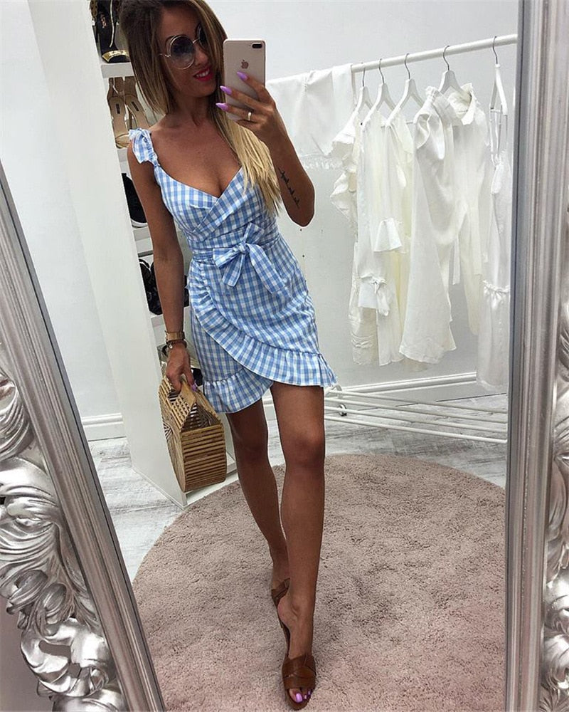 Ruffles Plaid Vintage Dress Bow Sweet Sling Mini Dress